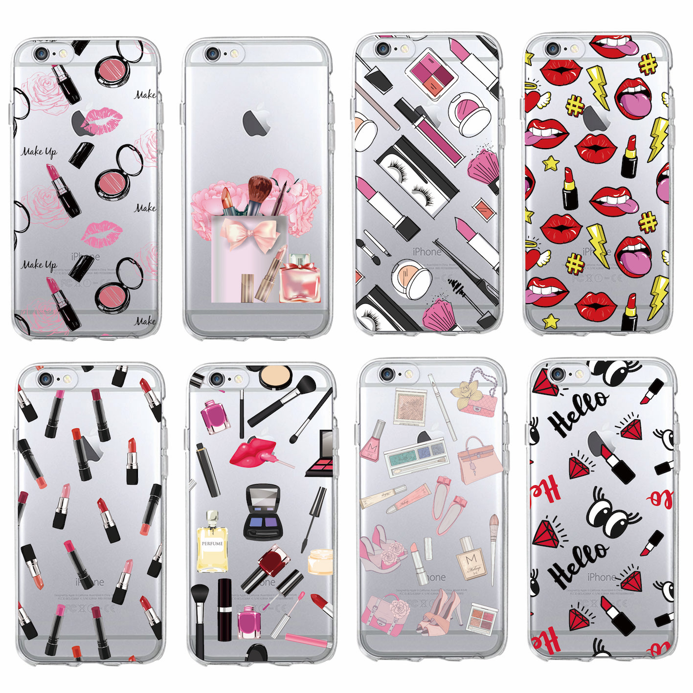 Fashion Sexy Lips font b Makeup b font Cosmetics Lipstick Powder Soft Clear Phone Case Coque
