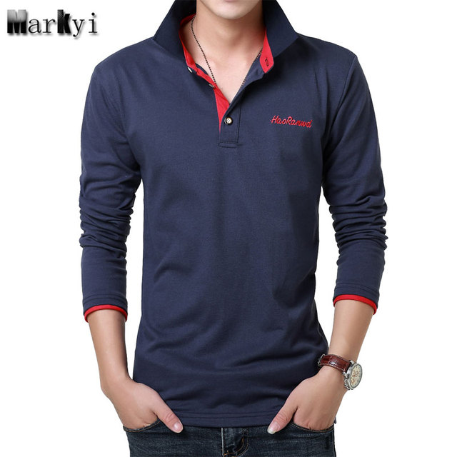 Markyi 2017 fashion embroidered logo mens polo shirts for Branded polo t shirts