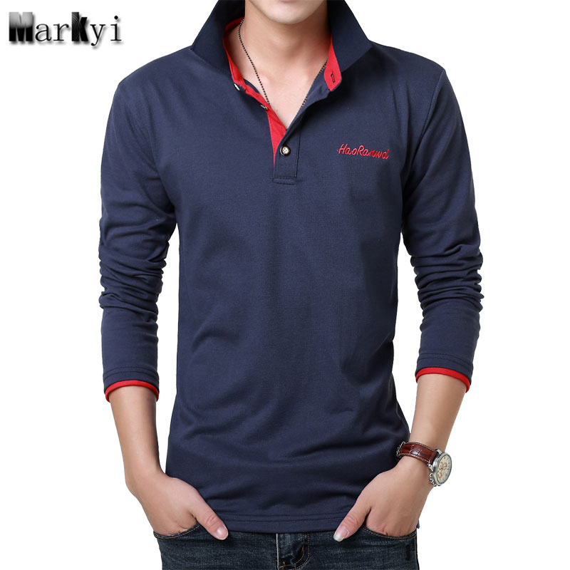 MarKyi 2017 Fashion Embroidered Logo Mens   Polo   Shirts Brands 23 Colors Casual   Polo   Long Sleeve Shirts For Men Size 3xl