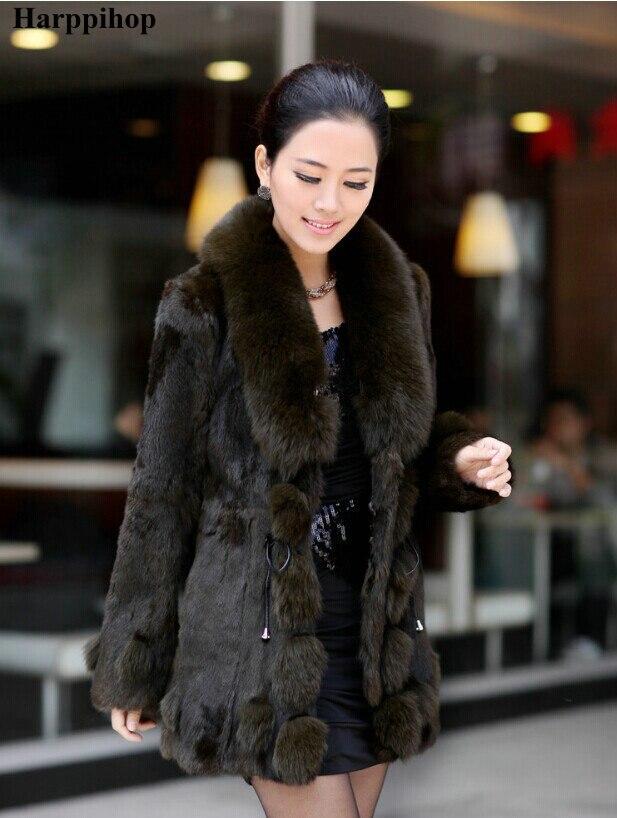 2017 зимняя женская куртка из натурального меха кролика с лисьим меховым воротником, женское меховое пальто, куртка