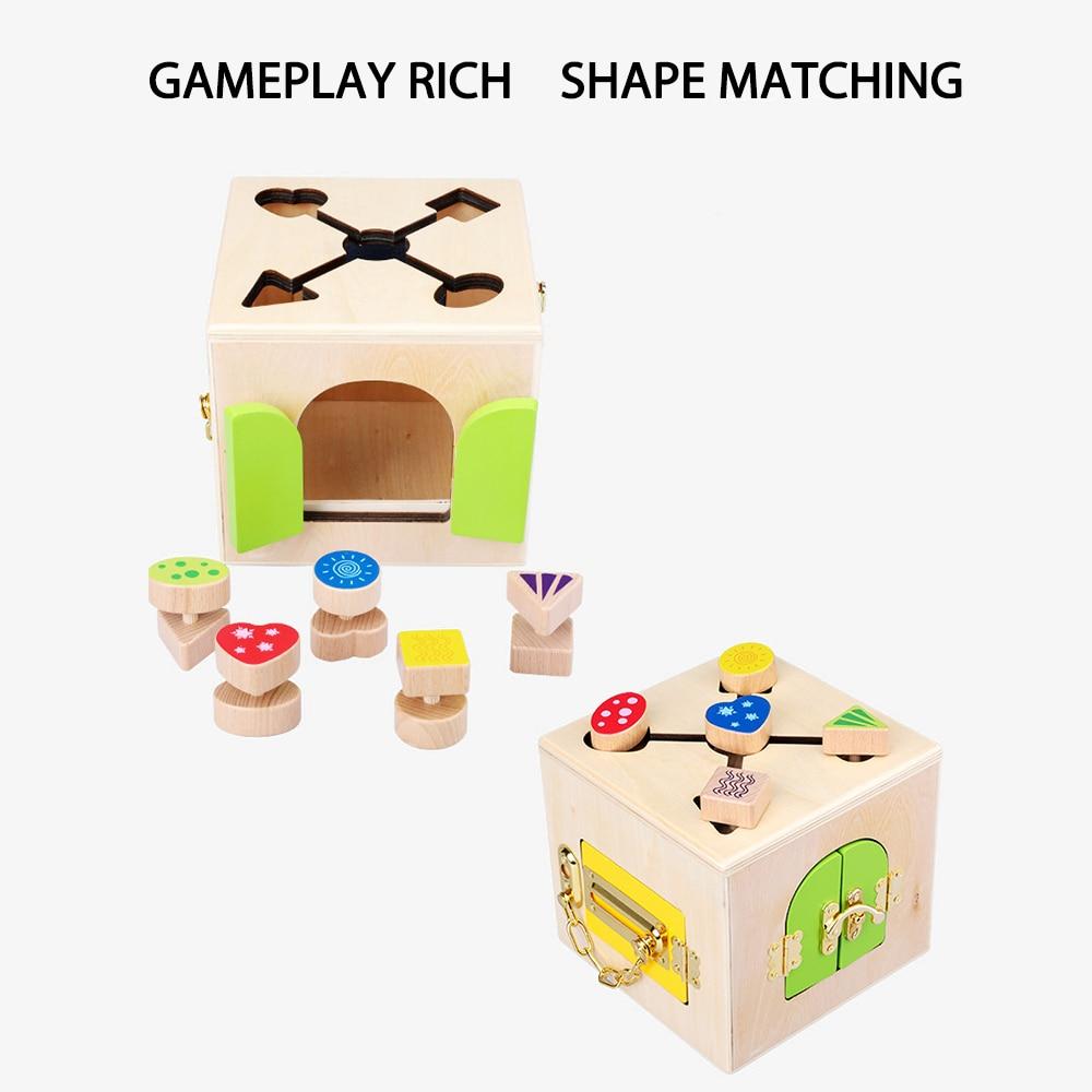 Jouets Montessori en bois boîte de verrouillage pratique jouet Montessori matériaux éducation jouets sensoriels en bois 3 ans enfants jeux cadeaux - 4