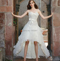 vintage wedding dress short front long back 2015 long strapless applique and beading high low bridal gown with bow