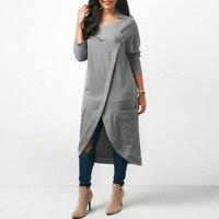 Fashion ZANZEA Women O Neck Long Sleeve Pockets Split Hem Solid Party Irregular Splice Sweatshirt Vestido Midi Dress Plus Size
