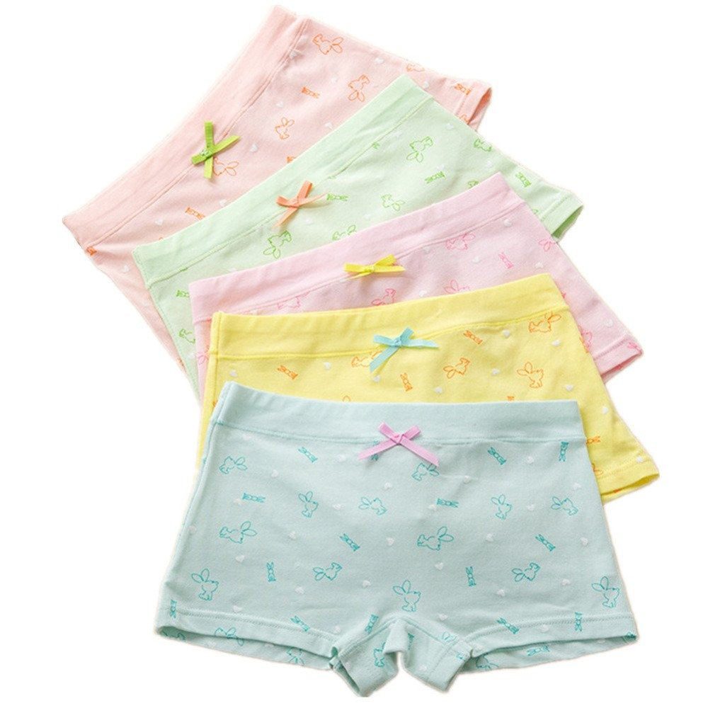 Girls Underwear Rabbit Boyshort Cotton Panties Bikini for Kids 5 Pack