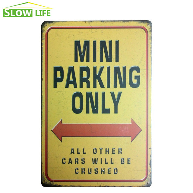Mini Parking Only Metal Tin Sign House Wall Decor Tin Sign Vintage ...