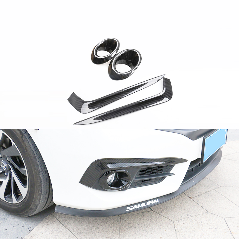 Free shipping ABS Carbon fiber Style Front fog lamp Cover Car Accessories For Honda Civic 2016 2017 10Gen Sedan free shipping vland factory for honda civic headlights 2015 2016 new civics led headlamp original accessory front light