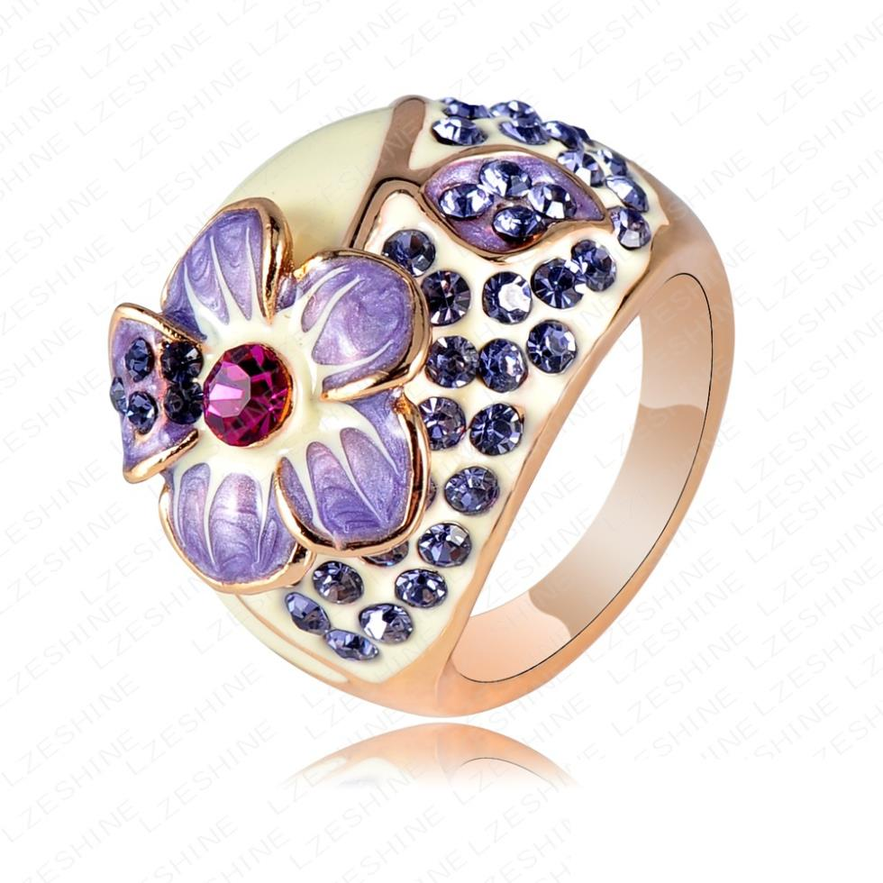 Vintage Purple Rhinestone Flower Rings Jewelry Gold color ...