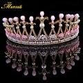 Barroco europeo Hecho A Mano Rosa de Plata Tiaras y Coronas de la Joyería de La Perla Simulada Joyería de La Boda Tiara de La Princesa Peinado HG215