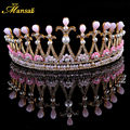 European Baroque Handmade Pink Silver Tiaras and Crowns Simulated Pearl Jewelry Princess Tiara Hairstyle Wedding Jewelry HG215