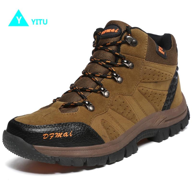 YITU Men's Climbing Trekking Mountain Shoes Tactical Hunting Hiking Sneakers Anti-skid Outdoor Sports Shoes Big Size Men Boots