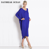 Loose Comfortable Medium To Long Women Dress Autumn Free Size Comfortable Sexy Solid Dresses Tidal Current