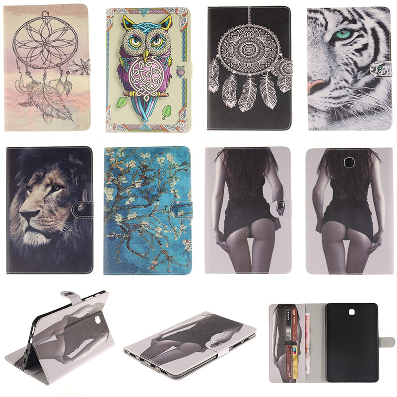 Fashion Cartoon Tiger Lion Pattern PU Leather Flip Case For Samsung GALAXY Tab S2 8.0 T715 T715C Back Cover With Card Holder