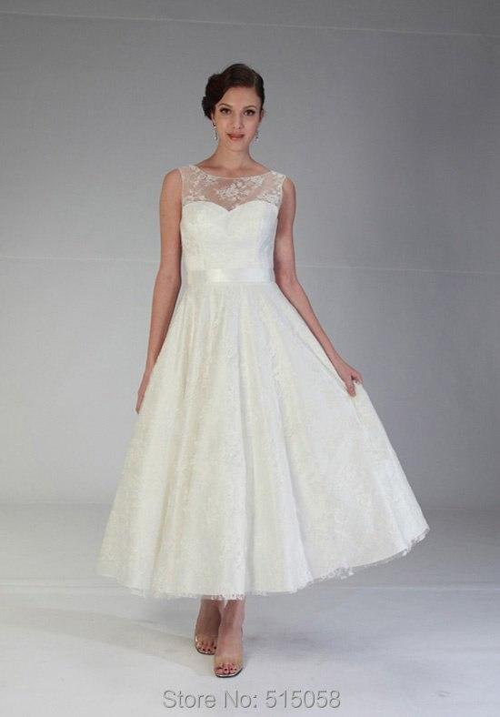 682295be39 Vuelos baratos de China boda 2015 Vintage 1950 s   estilo de marfil encaje  de longitud de té modesto vestido de novia en Vestidos de novia de Bodas y  ...