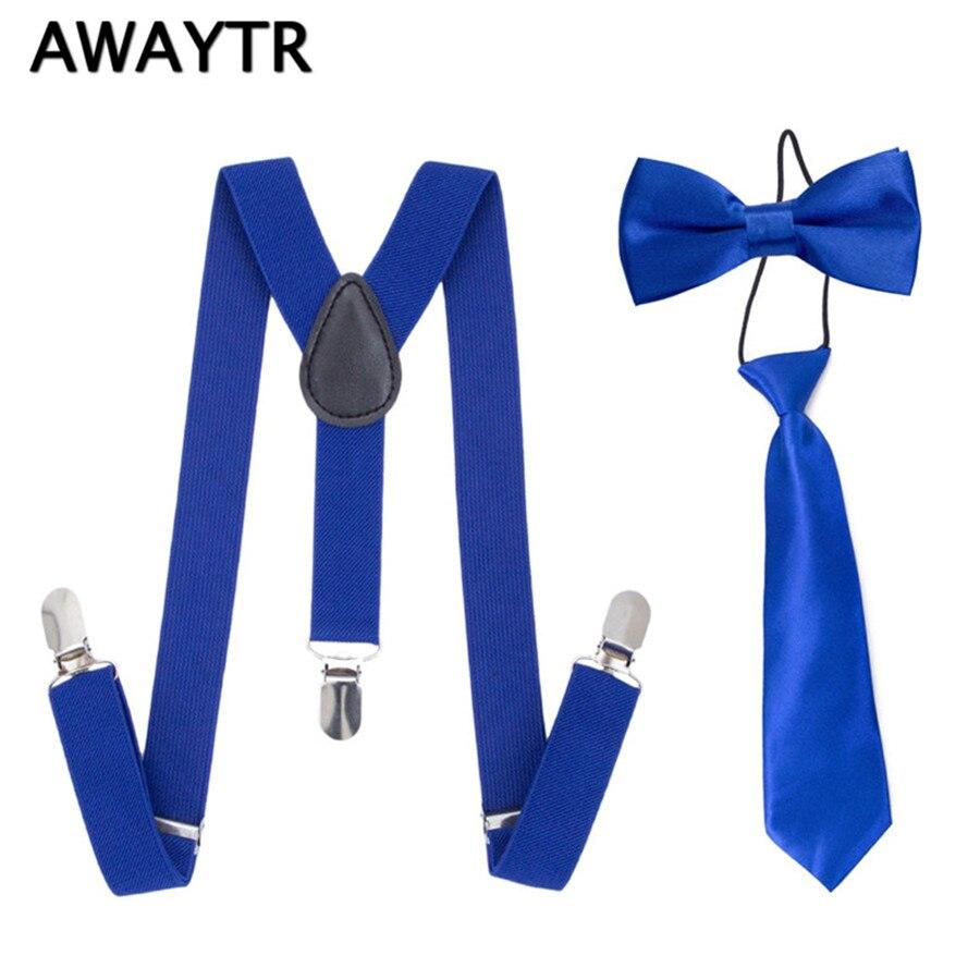 3PCS/Set AWAYTR Suspender+BowTies+Neckties Set Boys Blue Suspenders Sets Children Kids Wedding Braces with 3 Clips 2.5*60cm
