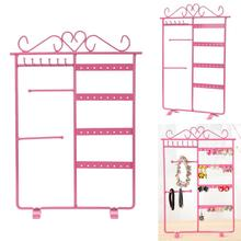 Metal Jewelry Display 32 Holes Earring Necklace Storage Hanging Holder Rack Stand Organizer