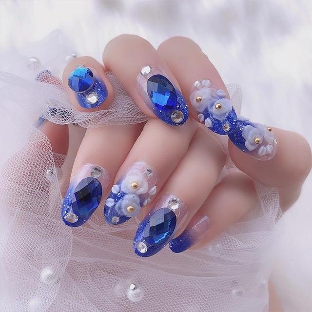 Nail Art Design Acrylic Fake Nail Tips Blue Color Shining Rhinestone