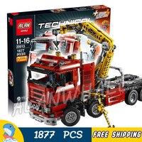 1877 шт. 2в1 Techinic моторизованный кран рычаг грузовик Duty Wrecker 20013 Модель Строительный игрушечные кирпичи Перевозчик совместимый с Lego
