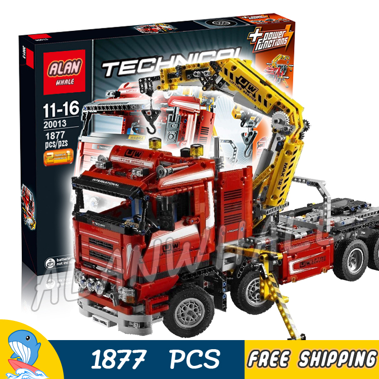 1877pcs 2in1 Techinic Motorized Crane Arm Truck Duty Wrecker 20013 Model Building Blocks Toy Bricks Carrier Compatible With lego 1060pcs 2in1 techinic motorized heavy