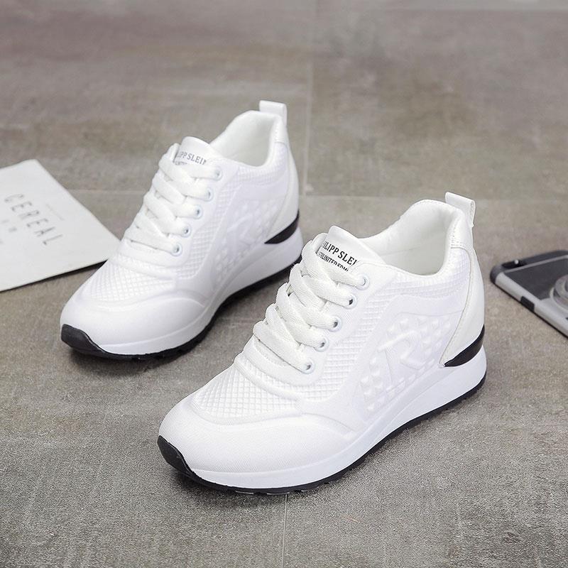 09b32ab6 YeddaMavis/женские кроссовки, весенне-осенняя модная повседневная обувь,  женская обувь на высокой платформе 7 см, женские кроссовки на толстой по.