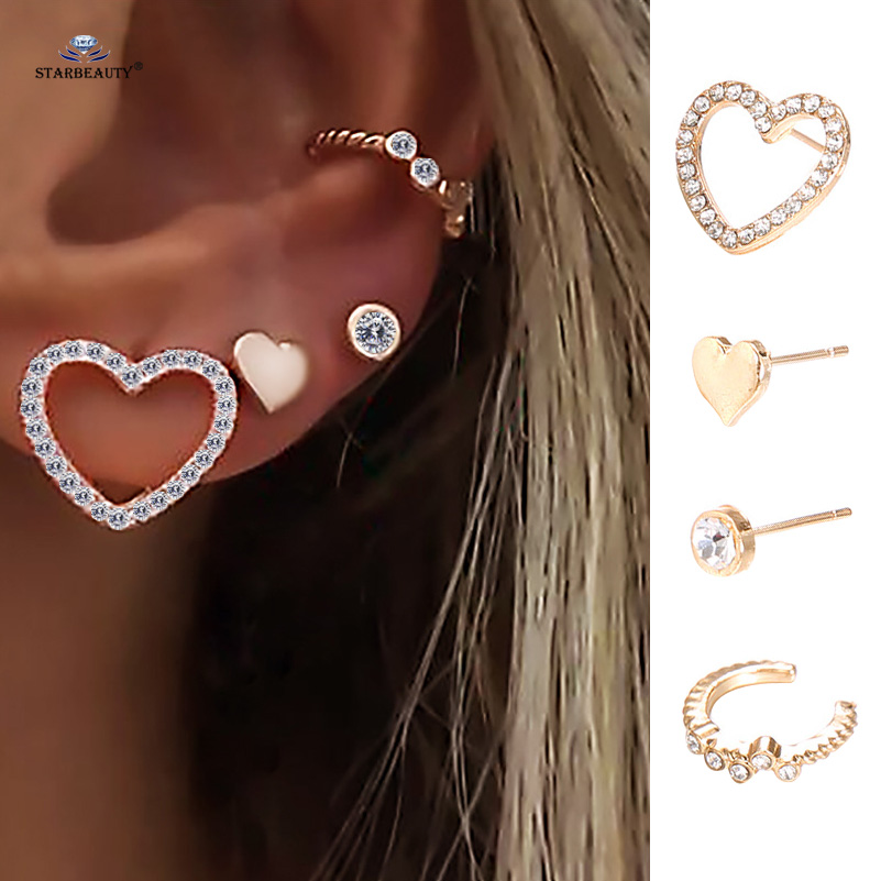 One Open Heart Fake Belly Ring-1//2-Dangle Heart Fake Cartilage Earring-Non Pierced Hoop Jewelry