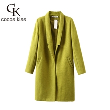 women's trench coat 2015 fashion autumn winter long wool blends over coats Simple slim solid ladies lapel jacket Five colors