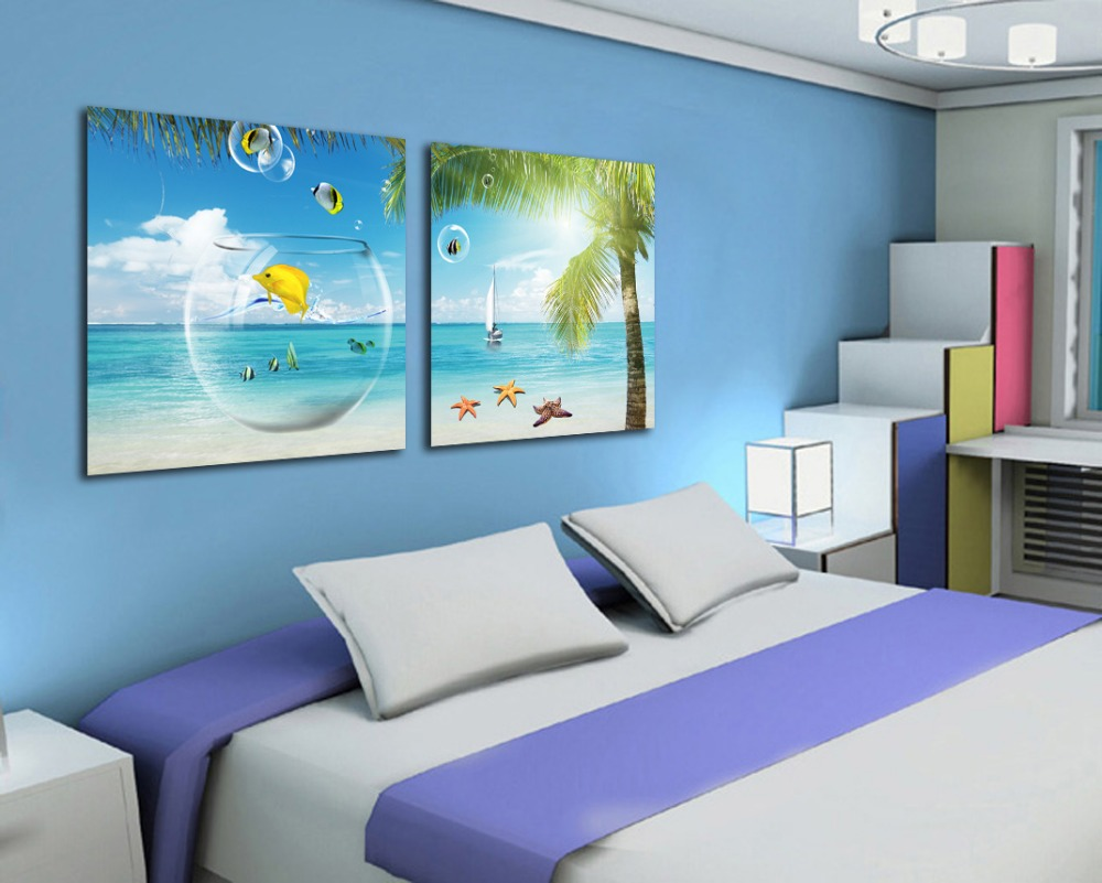 office canvas art. 2 Piece Canvas Wall Art Beach And Palm Tree Painting Fashion Home Decoration Office Painting-in \u0026 Calligraphy From