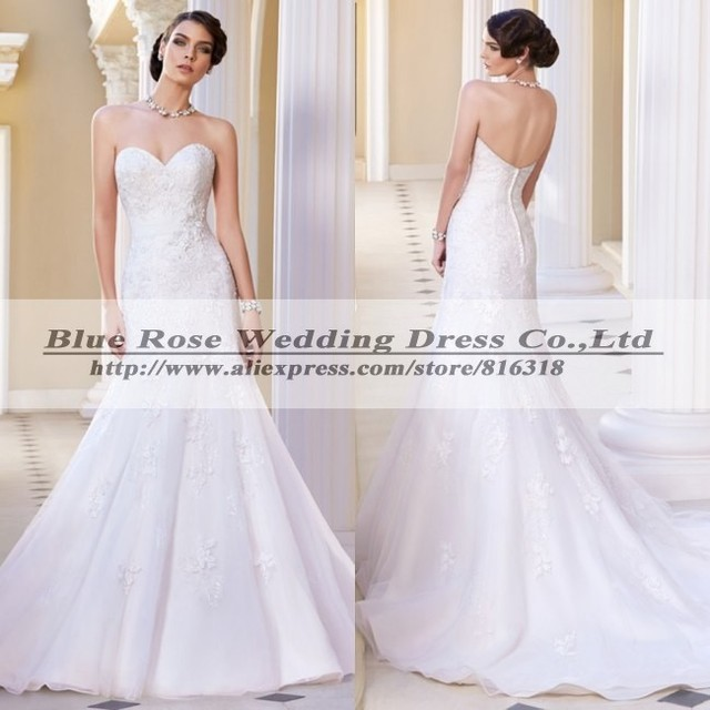 Robe De Marriage 2014 Strapless Lace Wedding Dress Mermaid Victorian ...