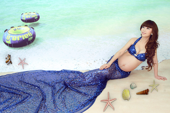 ФОТО 2015 New Maternity Photography Props clothing for pregnant women Long Dress Pregnancy Blue Mermaid set Princess Free shipping