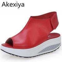 Solid Swing Platform Women Sandals Lady S Wedges Sandals Summer Genuine Leather Platform Shoes Red Black