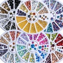 1 колесо смешанных размеров разноцветные блестящие плоские с оборота Круглые граненые алмазные акриловые стразы для дизайна ногтей наклейки на Драгоценности для маникюра самодельные колеса