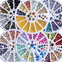 1 rad Mix Größen Mix Farben Glitter Flatback Runde Facetten Diamant Acryl Nail art Strass Jewel Decals Maniküre DIY Rad