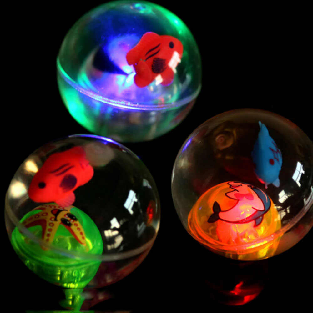 Flashing Ball Fish Bouncing Ball Toy Transparent Crystal Luminescence Elastic Ball Colorful Ball With