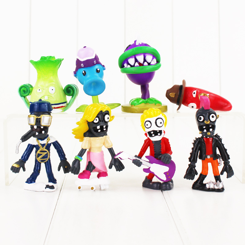 8pcs/set  PVZ Plants vs Zombies Figures Plants and Zombies PVC Action Figures Collection Model Toys