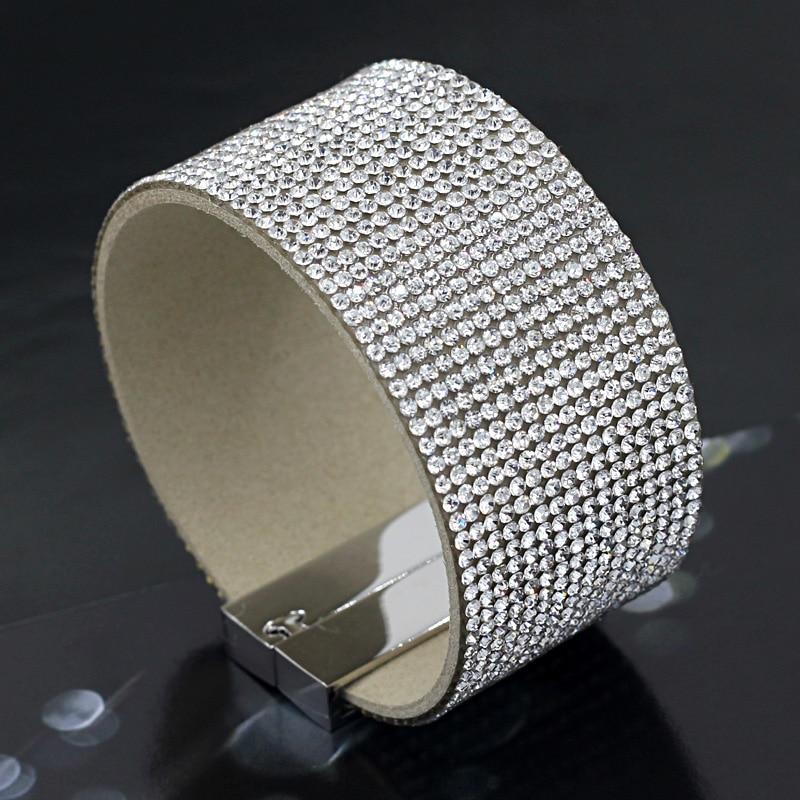 VONNOR Jewelry Sparkling Rhinestone Inlaid Women Soft Wide Bangles Bracelets Fashion Summer Female Accessories