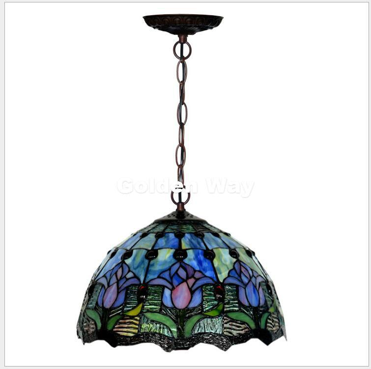 Бесплатная доставка Европейский Тиффани подвесной светильник в стиле барокко Стиль подвесной светильник 12 дюйм(ов) пятнистости Стекло под