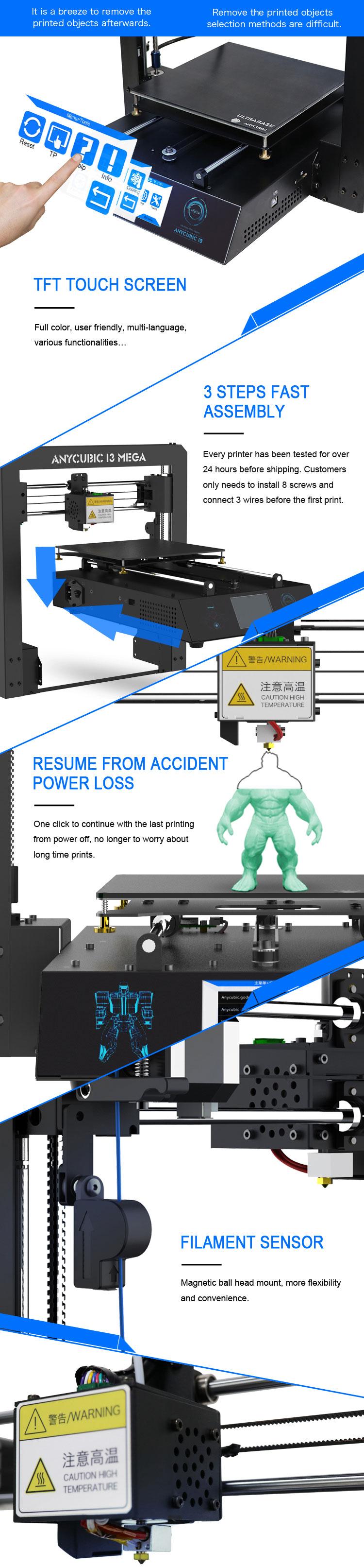 Anycubic 3D printer impresora 3d I3 Mega full metal imprimante 3d High Precision Patented Lattice Platform 3d printer kit (3)