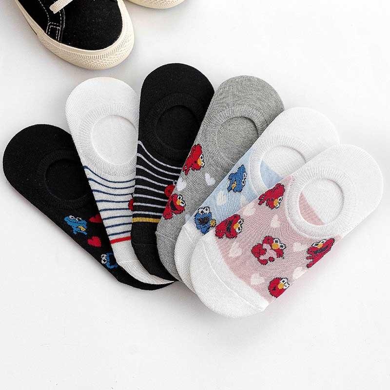 Fshion Leisure Shallow Mouth Short Sock Breathable Comfortable Cotton Cartoon Anime Women Nonslip Short Sock Chaussettes