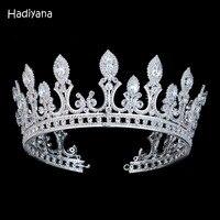Hadiyana Luxury Eye Shape CZ Crystal Bridal Diadem Crown Hair Accessories Big Tiaras Crown For Women