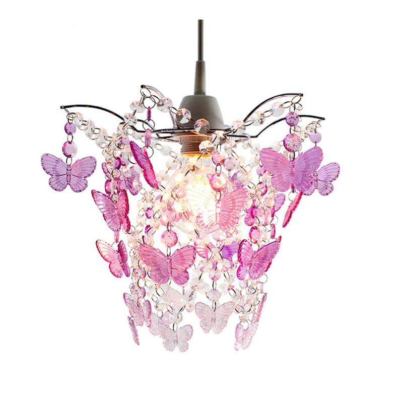 SUNLI HAUS Kronleuchter Lichter Acryl Perlen Lichter Chrom Splitter Lampe  Rosa Schmetterling Lampe E27 Hochzeit Beleuchtung Hause Dekoration