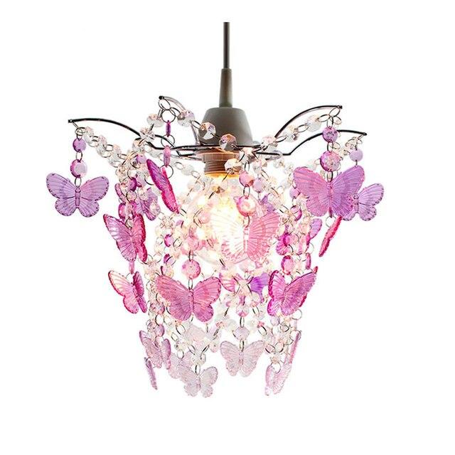 SUNLI HAUS Kronleuchter Lichter Acryl Perlen Lichter Chrom Splitter Lampe  Rosa Schmetterling Lampe E27 Hochzeit Beleuchtung