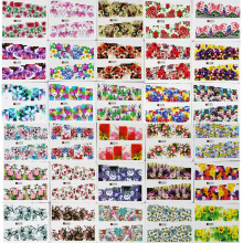 50 Sheets Random Flower Series Water Transfer Nail Art Full Cover Sticker Set Floral Daisy Rose Flowers Watermark Decal Kit
