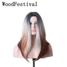 WoodFestival Medium Length Heat Resistant Wigs For Women Mix Color Straight Ombre Cosplay Wig Synthetic