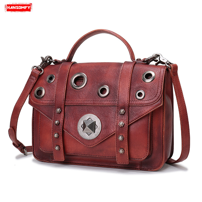 Vintage original handmade Women handbags genuine leather casual female shoulder bag rivet large capacity portable Messenger bagsVintage original handmade Women handbags genuine leather casual female shoulder bag rivet large capacity portable Messenger bags