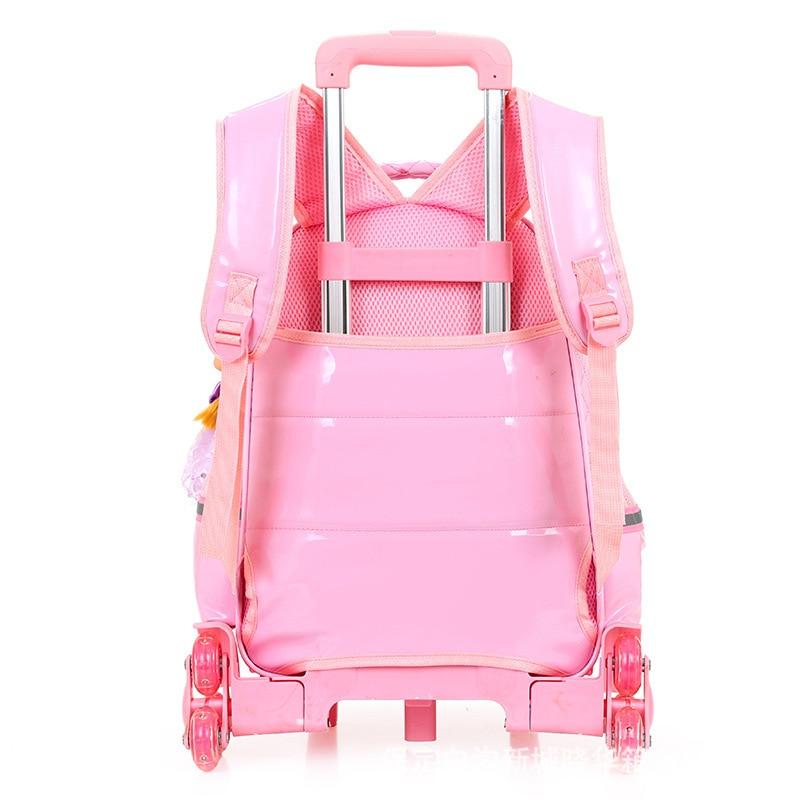 Venta caliente niñas princesa estilo 3 ruedas mochila escuela bolsa set 2019 nuevo impermeable PU cuero carretilla escuela bolso chica mochila - 3
