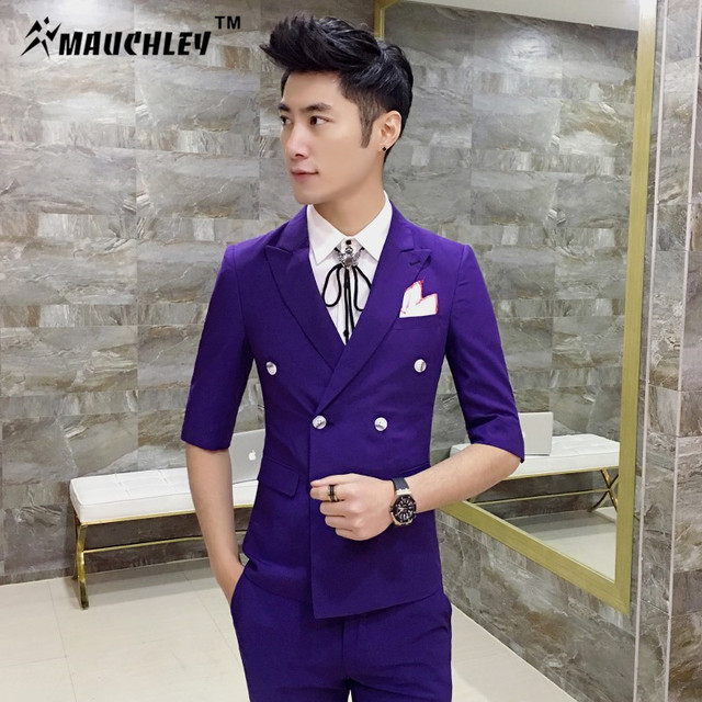 a1a9b848f5c04 Latest Coat Pants Designs Mens Suits Slim Fit 2 Piece Half Sleeve Jacket  With Pants Double
