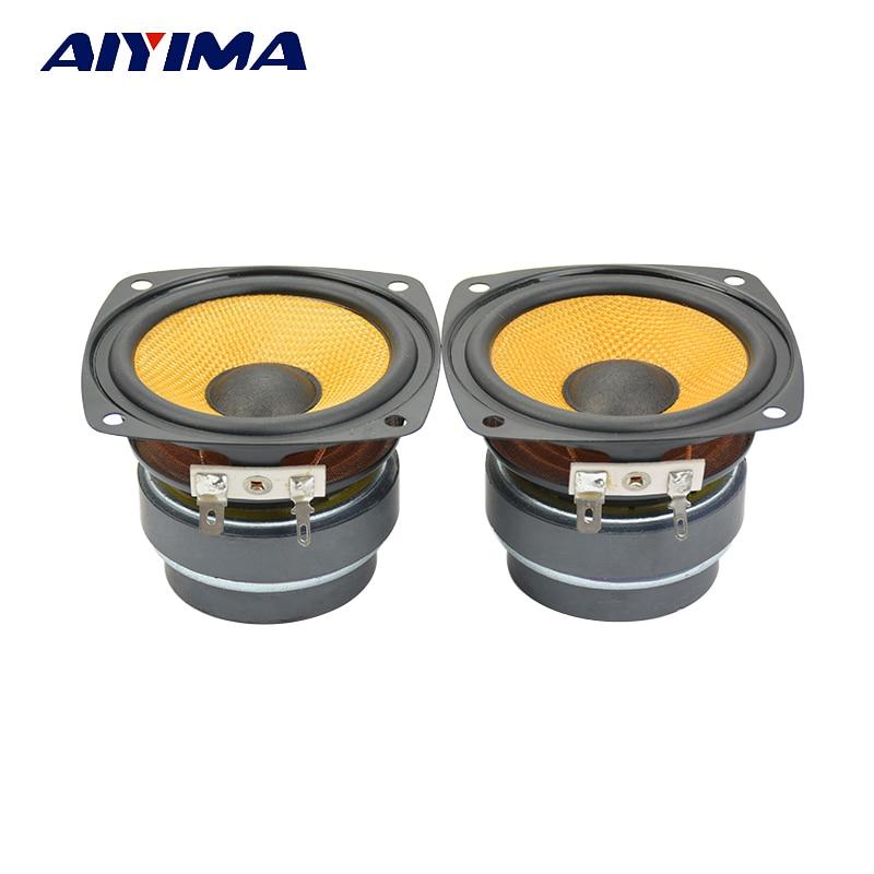 Aiyima 2PC 3Inch Audio Speaker HiFi 6Ohm 25W Full Range Speakers Double Magnet Loudspeaker Square For Desktop Amplifier DIY
