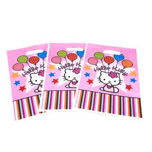 4b4aac2e79fe Hello Kitty Theme 6pcs Plastic Gift Bags Pink Candy Bag Girl Birthday Party  Loot Bag Supplies Baby Shower Snack Bag Decoration