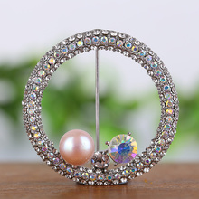 Diamond Pearl brooch Natural pearl diamond brooches Certified natural freshwater corsage Clothing decorations