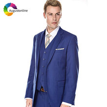 купить Custom Made Royal Blue Men Suits Wedding Groom Tuxedo Groomsmen Suit Prom Wear Costume Homme 3 Pieces Jacket Pants Vest Ternos по цене 3485.36 рублей