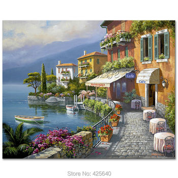 Hand-painted Mediterranean Seascapes painting for the sitting room decorates a wall pictures painted on the canvas art 01